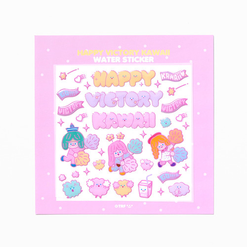 HAPPY VICTORY KAWAII WATER STICKER